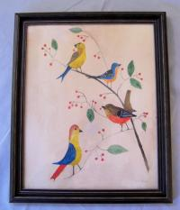Evelyn S Dubiel folk art watercolor painting of a group of birds