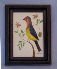 Evelyn S Dubiel folk art watercolor painting of a bird
