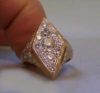 2 CT French Art Deco yellow gold and diamond ring