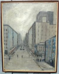 A Philip Pieck abstract oil painting on canvas NYC cityscape c1949
