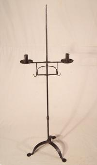 Early 19thc New England wrought iron torchiere candle stand