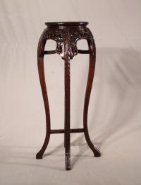 Antique tall Chinese rosewood marble top plant stand c1860