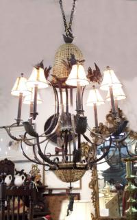 Contemporary modern bronze chandelier with monkeys