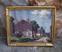 George Bruestle Lyme Barn oil painting on board Landscape  c1900