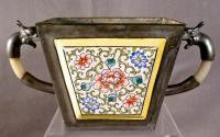 Chinese enameled pewter cachepot with jade handles c1850