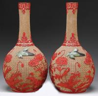 Pair Chinese cinnabar vases Chien Lung 1735 to1796