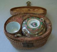 Chinese porcelain picnic tea set in basket c1860