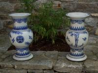 Pair Chinese blue white export porcelain pedestals c1880