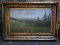 C B Hellem Hudson River landscape oil painting on canvas