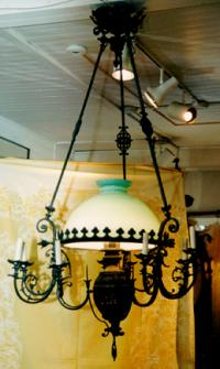 Victorian antique iron and glass chandelier