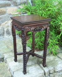 Chinese carved rosewood plant stand c1860