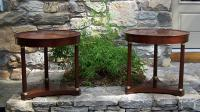Pair French Empire style side tables with bronze mounts c1950