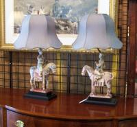 Pair Ching Dynasty terracotta horses sculptures made into lamps