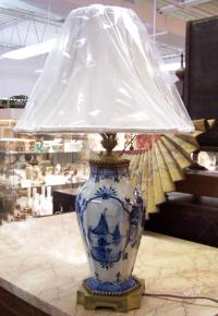 Early Dutch Delft porcelain vase mounted as lamp
