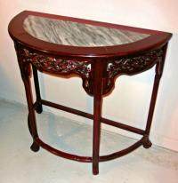 Chinese rosewood demilune console table c1900
