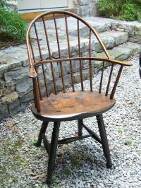 American country Windsor arm chair in original green paint c1800