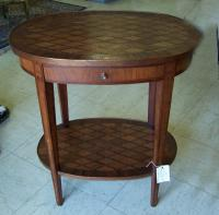 Vintage French oval top night stand parquet top and drawer c1900
