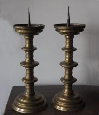Pair of Flemish Renaissance brass pricket candlesticks c1700
