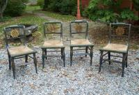 Set of 4 early American painted dining chairs