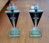 Pair Art Deco glass candlesticks