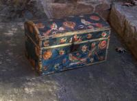 Country French folk art blue painted document box c1800