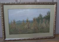 Fannie Burr corn stalks in a field oil on board c1896