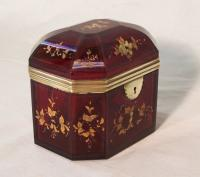 18thc French cranberry glass jewel casket
