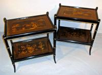 Pair black lacquered chinoiserie decorated end tables c1860