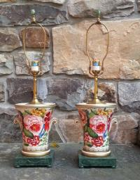 Brunschwig and Fils handmade painted table lamps