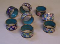 Set of eight vintage Chinese Cloisonne napkin rings