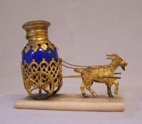 French gilt bronze blue opaline donkey cart perfume bottle