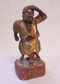 Early hand carved Japanese wood figure of a man