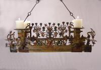 Early Sicilian iron cart axle chandelier