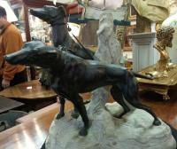 Rene Paul Marquet dog bronze of  two wolfhounds c1939