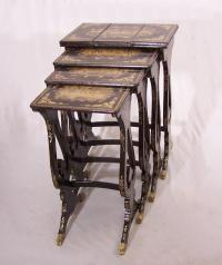 Set of Chinese export gilt lacquer nesting tables c1820