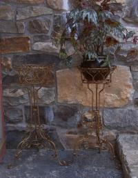 Pair French gilt hand wrought iron plant stands c1900