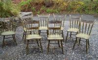 Assembled set of 8 painted Sheraton country plank set chairs c1820