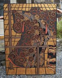 Japanese carved wood panel in kimono design