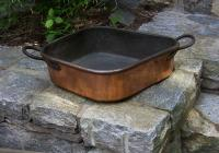 Antique French copper Turbot pan stamped L D B