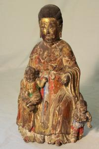 Chinese carved gilded polychromed wood Deity c1800