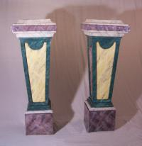 Pair of large faux marble pedestals