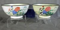 Pr Chinese Peking enameled bowls with cats c1900
