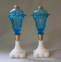 Pair of Sandwich glass turquoise whale oil lamps c1850