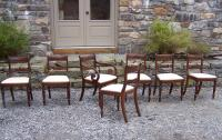 Set of 7 American Federal period walnut dining chairs c1825