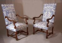 Pair of Louis XlV period walnut arm chairs