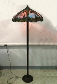Rare standing Handel floor lamp with bent glass shade