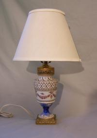 Vintage hand painted French porcelain lamp with gilt bronze base