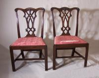 Pair of 18thc Massachusetts Chippendale dining chairs c1770