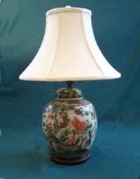 Chinese Export ginger jar lamp c1900