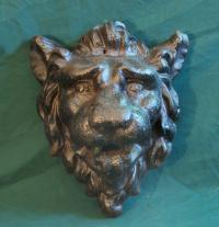 Antique cast iron Architectural roaring lion head mask c1860